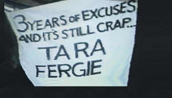 The 'Ta Ra Fergie' banner which was held up by Manchester United fans early in his reign as United manager.
