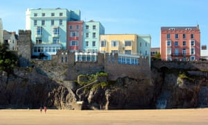 Colourful houses above Tenby Harbour beach.