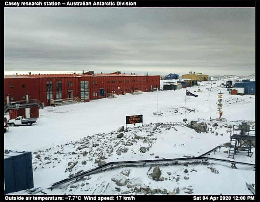 Antarctica, seen from the webcam in Casey station, a research post managed by the Australian Antarctic programme. At 12pm on 4 April 2020 the continent had registered no cases of Covid-19 or deaths from the virus.