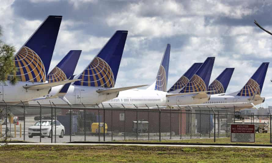 United Airlines planes parked at Orlando international airport