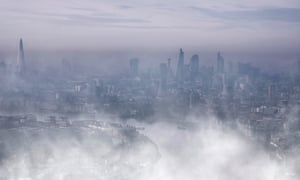 City of London in mist and fog.