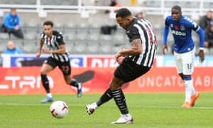 Callum Wilson of Newcastle scores the opening goal from the spot.
