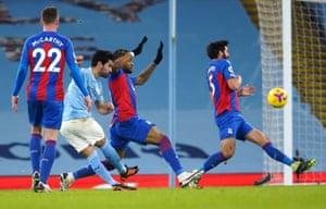 Manchester City's Ilkay Gundogan (second left) scores his side's second goal.