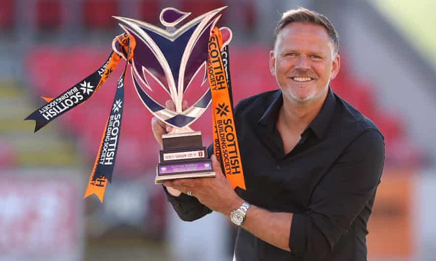 Scott Booth with the SWPL trophy earlier this month after another title success with Glasgow City