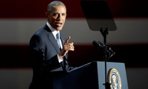 Barack Obama delivers his farewell address in Chicago, Illinois.