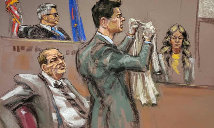 A sketch of Lauren Young and attorney Damon Cheronis during film producer Harvey Weinstein's sexual assault trial.