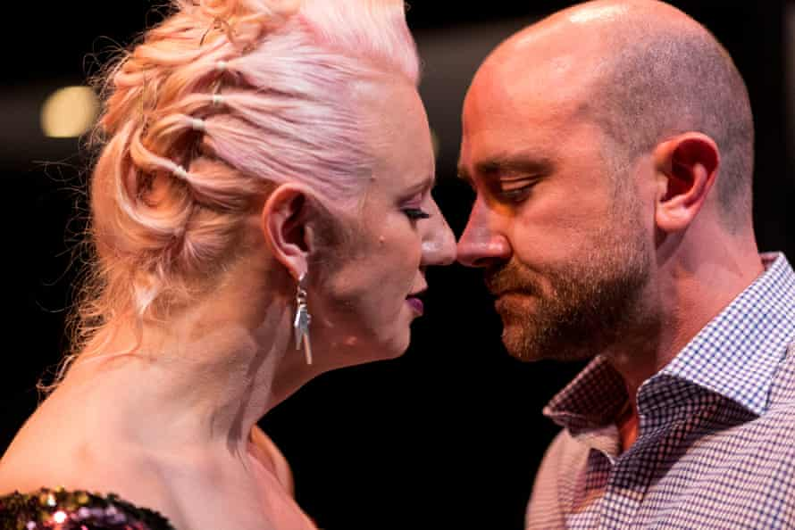 Glace Chase, left, and Josh McConville in the Queensland Theatre/Sydney Theatre Company premiere of Triple X.