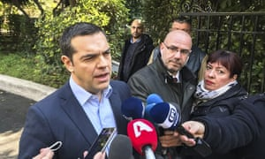 Prime Minister of Greece Alexis Tsipras speaking to the media.