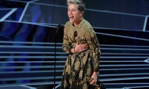 Frances McDormand winning best actress at the Oscars
