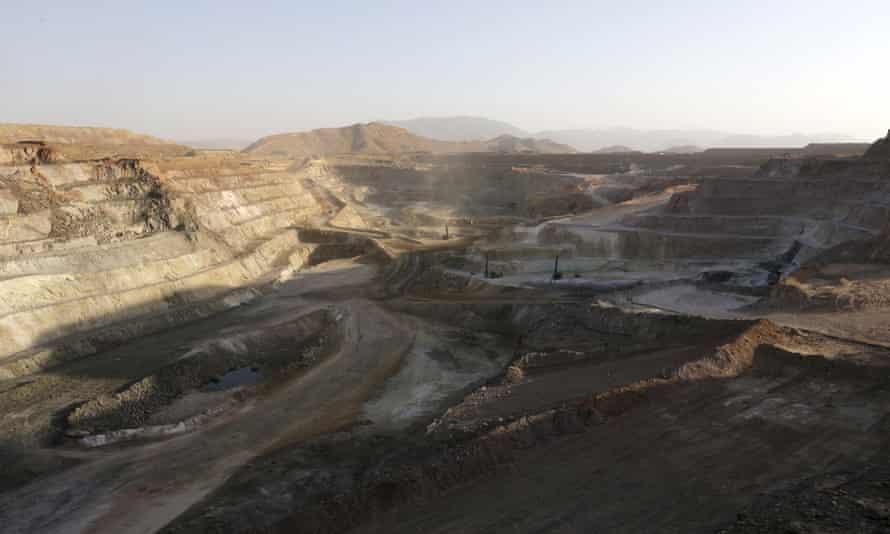 The gold, copper and zinc mining pit at Bisha mine, north-west Eritrea