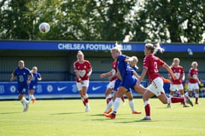 Millie Bright scores Chelsea's fifth goal.