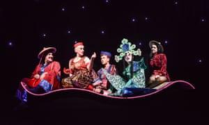 Full steam ahead … Aladdin, with John Elkington, Rebecca Little, Nathan Elwick, Darren Southworth and Danielle Corlass as Aladdin