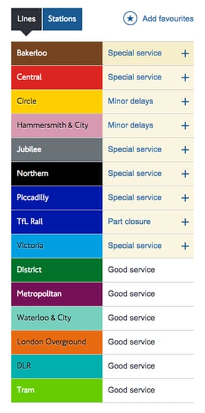 Screengrab of Transport for London services following the official end of the strike on 9 January 2017.