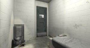 The cell interior was designed in Unity, a game engine, using computer-generated imagery and drawing on testimonies former inmates