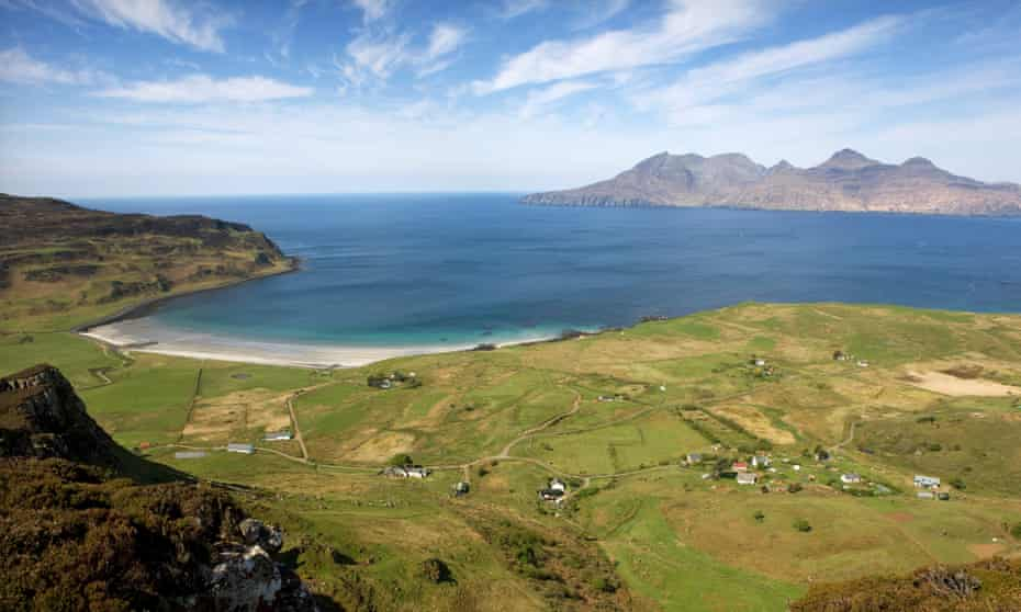 Looking out over Cleadale on the north-west side of Eigg, to the island of Rùm.