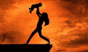 A woman holding a baby and looking at it, while stepping backwards over the edge of a precipice, with a fiery background to suggest climate change and other 'far-sighted' policy areas.