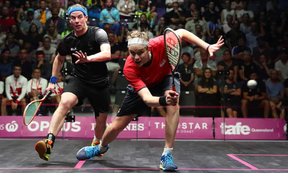 James Willstrop in action against Campbell Grayson at the 2018 Commonwealth Games on the Gold Coast.