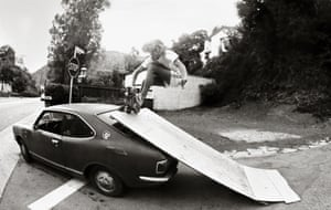 Beverly Glen using his car as a ramp in Benedict Canyon, 1976