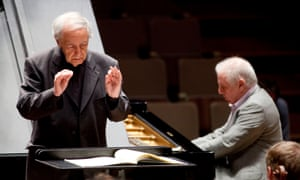 """Rehearsing with Daniel Barenboim at the piano for concerts at the Royal Festival Hall, London in 2011 (<a href=""""http://www.theguardian.com/music/2011/jun/14/berlin-staatskapelle-boulez-barenboim-review"""">read our review</a>)."""