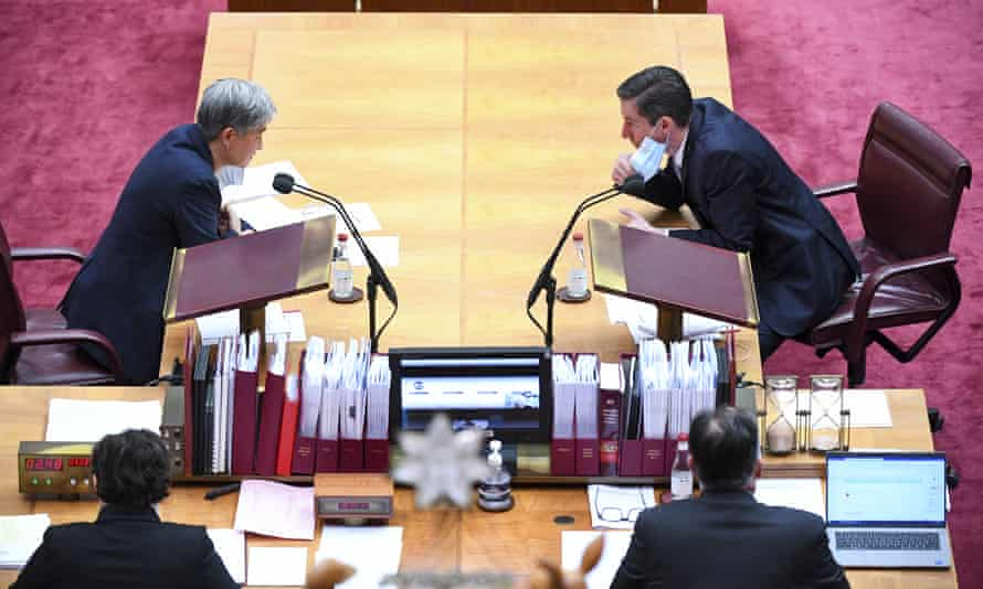 File photo of Labor's Penny Wong and the Coalition's Simon Birmingham in the Senate