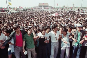 Students gather in Tiananmen Square in Beijing in the spring of 1989.