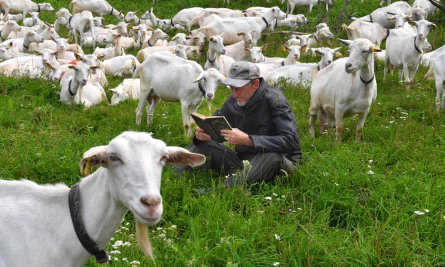 A goat farmer in Lizavetin, Belarus.