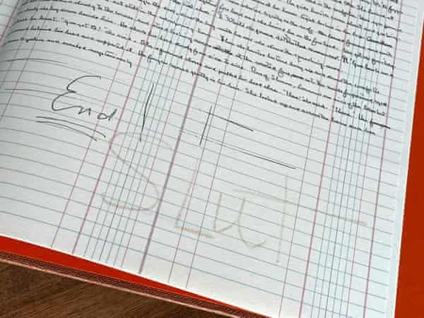 "The end of Steinbeck's Grapes of Wrath manuscript, where faint lettering spells out ""SLUT"""