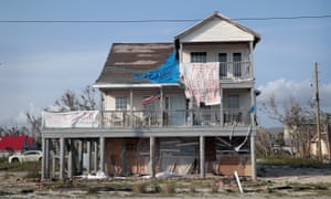 The remains of a home that was heavily damaged by Hurricane Michael sits near the beach on 9 May 2019 in Mexico Beach, Florida.