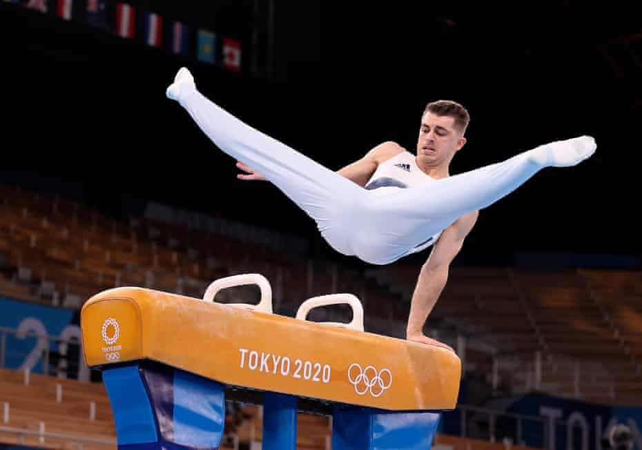 Max Whitlock in competition in the pommel horse final. 'When the scores hit and the final score comes up, emotions hit you like a ton of bricks.'