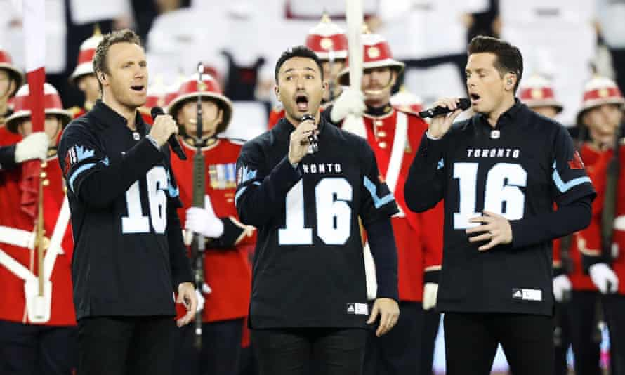 Canadian recording artists the Tenors perform the Canadian national anthem prior to the Canadian Football League's (CFL) 104th Grey Cup championship game in Toronto in November 2016.