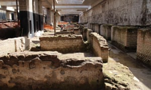 Roman ruins and mosaics discovered during work on a new underground line near the Colosseum in Rome. They date back to the period of Emperor Hadrian, in the second century AD.