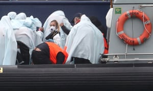 A group of people are brought into Dover, Kent, following a number of small boat incidents