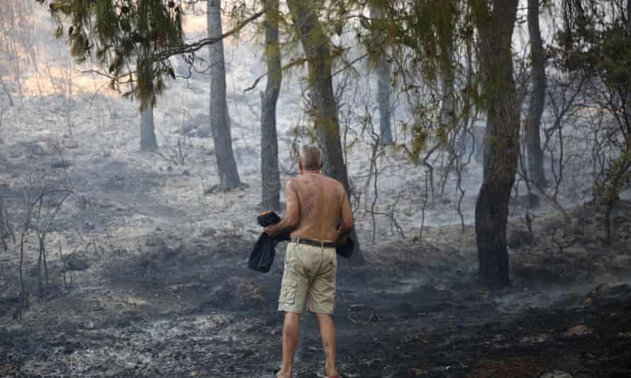 The aftermath of a blaze near Athens.