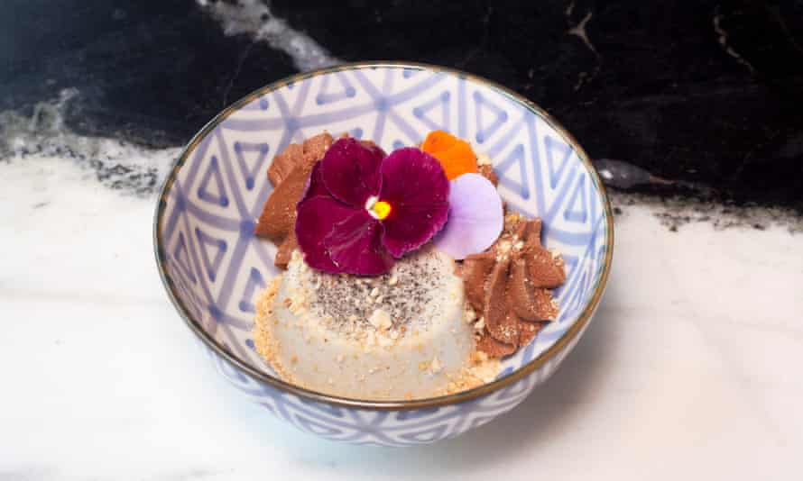 'A bit of a shrug': panna cotta, with a chocolate mousse and black sesame.