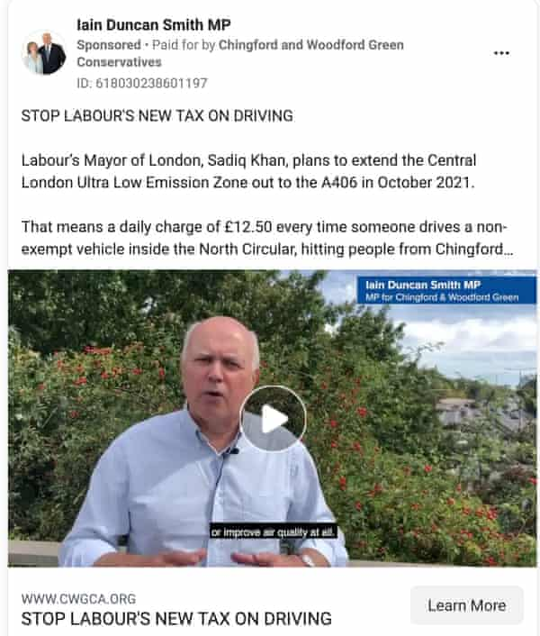 London clean air zone facebook ad placed by Iain Duncan Smith MP