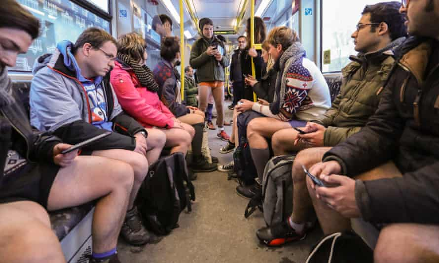 People in Berlin participate in the no pants subway ride on Sunday.