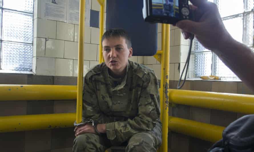 Nadezhda Savchenko in russian custody shortly after her capture.