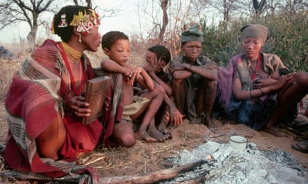 San people sit around the last flames of a campfire. Modern sleeping patterns in lifestyles with bright screens have found to be no different to groups living ancient routines without modern technology.