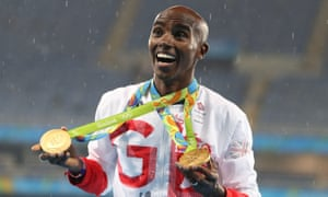 Mo Farah with his gold medals for men's 5,000m and 10,000m