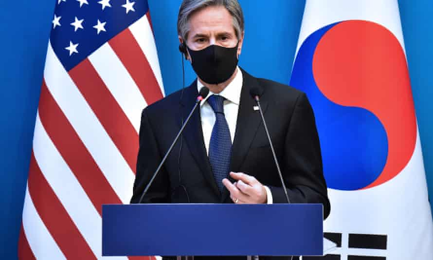 Antony Blinken spoke at a joint press conference after he and the US defence secretary met South Korea's foreign minister and defence minister in Seoul.