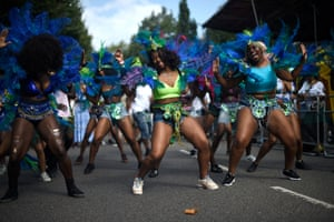 Performers practice prior the start of the Notting Hill carnival.
