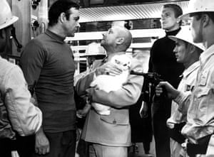 Connery with Donald Pleasence as Blofeld and his Persian cat in You Only Live Twice, 1967.