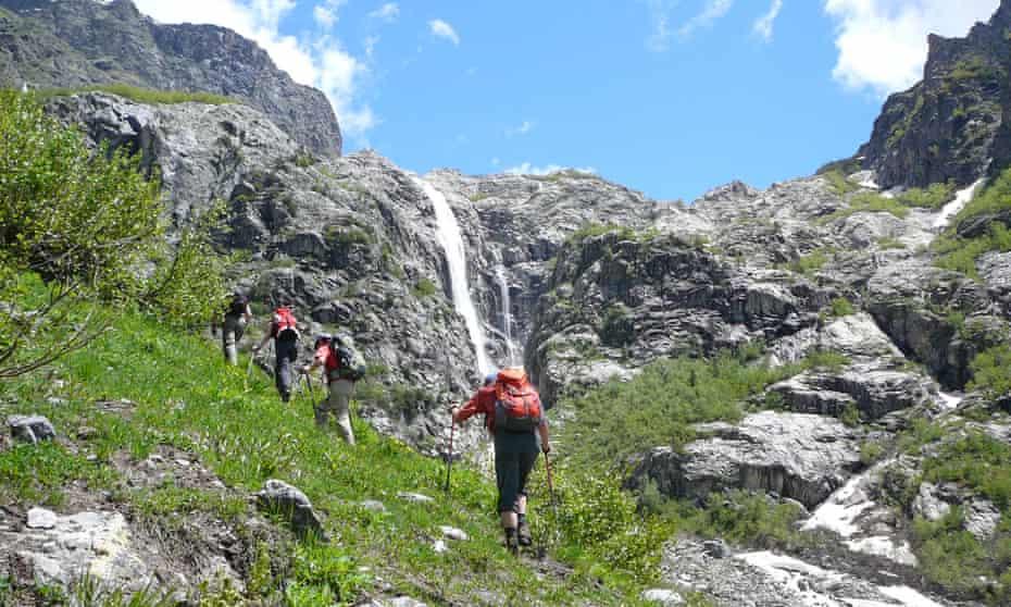 Ushba Waterfall. Explore Holidays hiking in Georgia trip