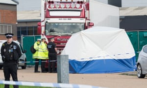 Police examining the lorry