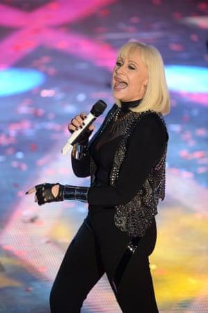 Raffaella Carrà at the Sanremo festival in 2014.