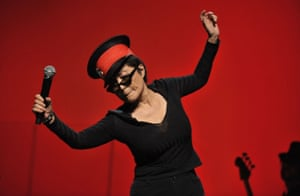 Yoko Ono performing with her Plastic Ono Band in 2010.