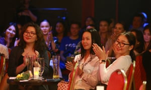Young women make up most of the clientele at the UB comedy club in Ulaanbaatar