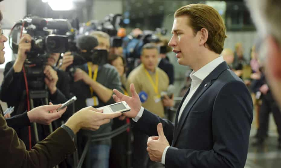 Sebastian Kurz, Austria's foreign minister, talks to journalists during an informal meeting of European foreign ministers in Latvia, 7 March 2015