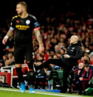 Arsenal's interim manager Freddie Ljungberg vents his frustration.