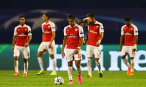 Alexis Sanchez of Arsenal looks dejected after the second Dinamo Zagreb goal.